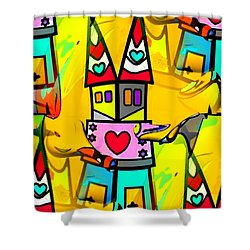 Shower Curtain featuring the digital art Pop-art Dom By Nico Bielow by Nico Bielow