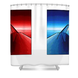 Shower Curtain featuring the photograph Red Blue Jet Pop Art Planes  by R Muirhead Art
