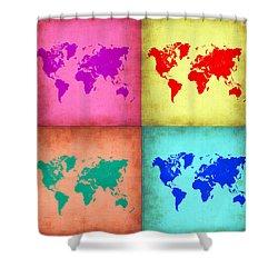 Pop Art World Map 1 Shower Curtain by Naxart Studio