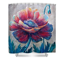 Pop-pop-poppy Shower Curtain by Suzanne Theis