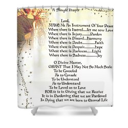 Pope Francis St. Francis Simple Prayer Angel Of Peace       Shower Curtain by Desiderata Gallery