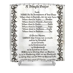 Pope Francis St. Francis Simple Prayer Fleur Shower Curtain by Desiderata Gallery