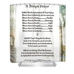 Pope Francis St. Francis Simple Prayer For Peace Shower Curtain by Desiderata Gallery