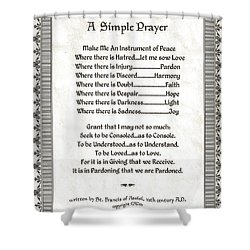 Pope Francis St. Francis Simple Prayer Peace On Parchment Shower Curtain by Desiderata Gallery