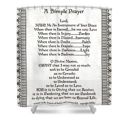 Pope Francis St. Francis Simple Prayer Scrolling Faith Shower Curtain by Desiderata Gallery