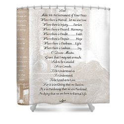 Pope Francis St. Francis Simple Prayer St. Teresa Shower Curtain by Desiderata Gallery