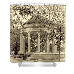 Popp Bandstand Sepia Shower Curtain by Steve Harrington