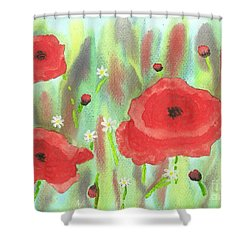 Poppies And Daisies Shower Curtain by John Williams