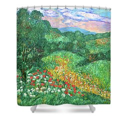 Poppies And Lace Shower Curtain by Kendall Kessler