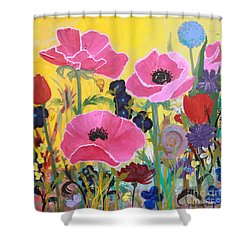 Shower Curtain featuring the painting Poppies And Time Traveler by Robin Maria Pedrero