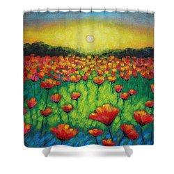 Poppies At Twilight Shower Curtain by John  Nolan