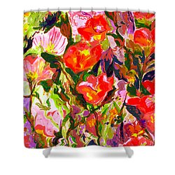 Shower Curtain featuring the mixed media Poppies by Beth Saffer