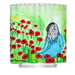 Poppies Field Illusion Shower Curtain