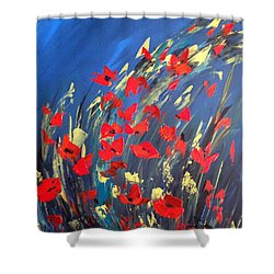 Poppies Field On A Windy Day Shower Curtain
