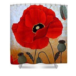 Poppies I Shower Curtain by Deyana Deco