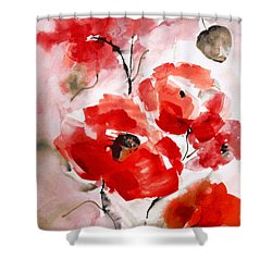Poppies I Shower Curtain by Hedwig Pen