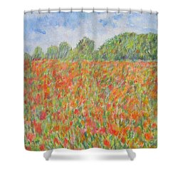 Poppies In A Field In Afghanistan Shower Curtain