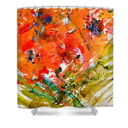 Poppies In A Hurricane Shower Curtain by Beverley Harper Tinsley