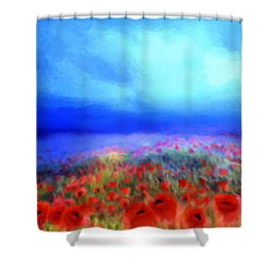 Poppies In The Mist Shower Curtain by Valerie Anne Kelly