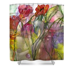 Poppies In The Sun Shower Curtain by Claudia Smaletz