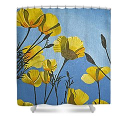 Poppies In The Sun Shower Curtain by Donna Blossom