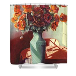 Shower Curtain featuring the painting Poppies by Marlene Book
