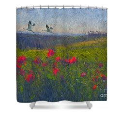 Shower Curtain featuring the digital art Poppies Of Tuscany by Lianne Schneider