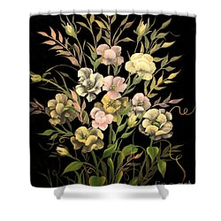 Poppies On Black Canvas Shower Curtain