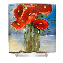 Shower Curtain featuring the painting Poppies On The Window Ledge by Pamela  Meredith
