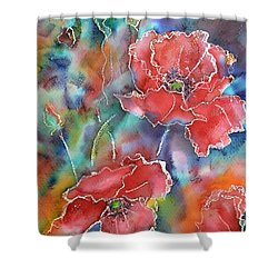 Shower Curtain featuring the painting Poppy Abstract by Kathleen Pio