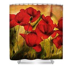 Poppy Flowers At Dusk Shower Curtain