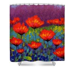 Poppy Meadow   Cropped Shower Curtain by John  Nolan
