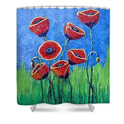 Poppy Party Shower Curtain by Suzanne Theis