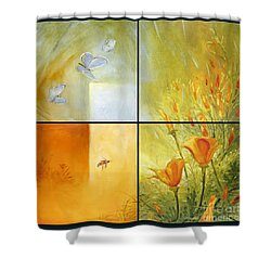 Poppy Pollination Shower Curtain
