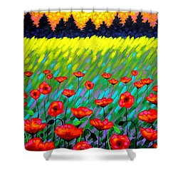 Poppy Scape Shower Curtain by John  Nolan