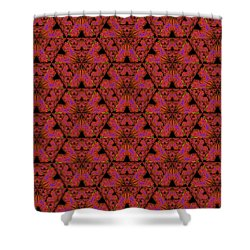 Shower Curtain featuring the digital art Poppy Sierpinski Triangle Fractal by Judi Suni Hall