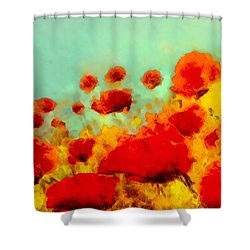 Shower Curtain featuring the painting Poppy Time by Valerie Anne Kelly