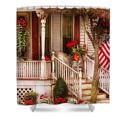 Porch - Americana Shower Curtain by Mike Savad