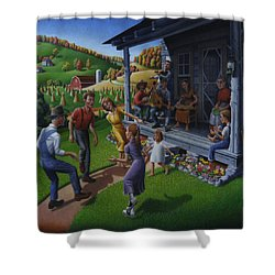 Porch Music And Flatfoot Dancing - Mountain Music - Farm Folk Art Landscape - Square Format Shower Curtain
