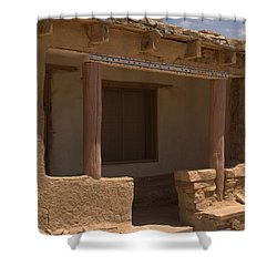 Porch Of Pueblo Home Shower Curtain by James Gay