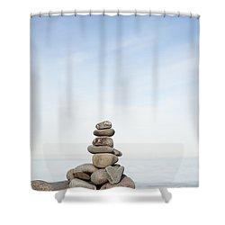 Porlock Weir Stone Stack Shower Curtain by Anne Gilbert
