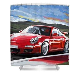 Porsche 911 Gt3 Impressionist Shower Curtain