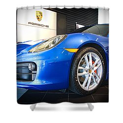 Porsche Cayman S In Sapphire Blue Shower Curtain