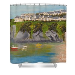 Shower Curtain featuring the painting Port Asaac Cornwell by Pamela  Meredith