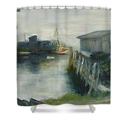 Port Clyde In Fog Shower Curtain