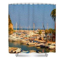 Port De Fontvieille Shower Curtain by Jeffrey Kolker