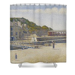 Port En Bessin Shower Curtain by Georges Pierre Seurat