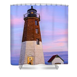 Port Judith At Sunset Shower Curtain by Karol Livote