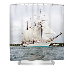 Juan Sebastian De Elcano Famous Tall Ship Of Spanish Navy Visits Port Mahon In Front Of Bloody Islan Shower Curtain
