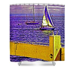 Port Of Call 4 Sailboats  Shower Curtain